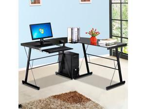 Yaheetech L-Shape Corner Computer Desk Glass Laptop Table Workstation Home Office Black