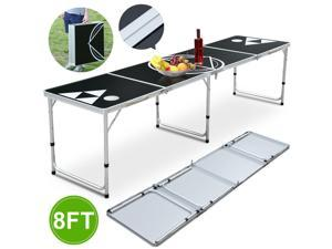 Yaheetech 8' Folding Beer Pong Table Foldable Aluminum Portable Outdoor Indoor College Party Gaming