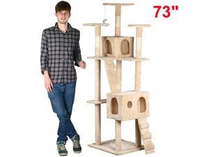 "Yaheetech 73"" Cat Tree Tower Condo Furniture Scratching Post Pet Kitty Play House[Beige]"