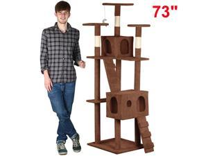 "Yaheetech 73"" Cat Tree Tower Condo Furniture Scratching Post Pet Kitty Play House[Brown]"