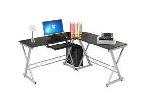 Yaheetech Home Office Computer Desk Wood PC Laptop Table L-Shape Corner - Black