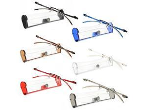 Reading Glasses 6 Pack Premium Feather Flex Rimless Reading Glasses with Case