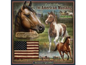American Expedition Square Tin Art Sign - Mustang