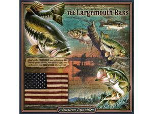 American Expedition Square Tin Art Sign - Largemouth Bass