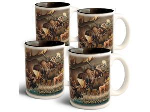 American Expedition Collage Coffee Mugs - Moose - 4 Set