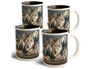 American Expedition Collage Coffee Mugs - Wolf - 4 Set