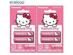 4x AA Panasonic Hello Kitty Eneloop Rechargeable Batteries 2000mAh BK-3MCCB