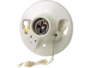 Leviton 014-9726-C Porcelain Grounded Pull Chain Lampholders and Side Outlet