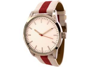 FMD White and Red Striped Canvas Band Watch by Fossil