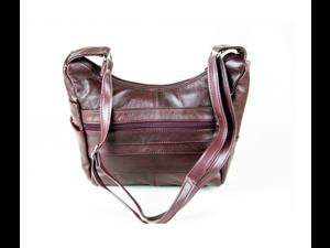 Wine Colored Cowhide Leather Handbag