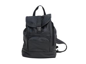 Black Leather Backpack with Convertible Strap