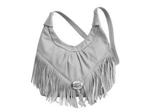 Grey Leather Handbag with Fringe