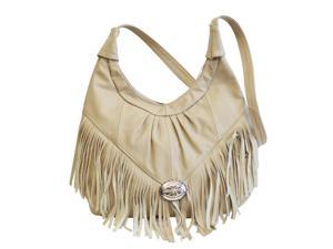 Leather Hobo with Fringe in Taupe