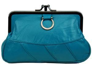 Blue Leather Change Purse with Clasp Closure
