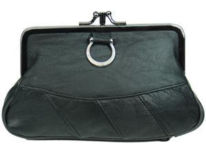 Black Leather Change Purse with Clasp Closure