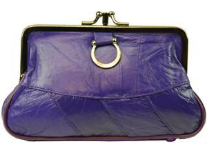 Purple Leather Change Purse with Clasp Closure