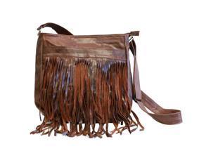 Brown Leather Fringe Messenger Bag
