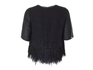 Sequin And Feather Detail Top