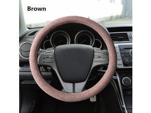 Handmade Car Steering Wheel Covers 4 Seasons General Flax Handlebar Covers Absorb Sweat & Non-slip Automobile Steering Wheel Covers