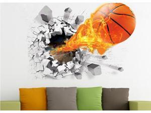 Surprised Wall Stickers 50x70CM Dynamic Basketball Printing PVC Stickers TV Setting Decoration Removable Antibacterial & Antifouling 3D Wall Stickers
