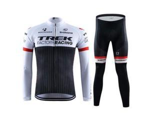 Trek Sports Men's Long Sleeve Black&white Cycling Jersey Pant Bicycle Clothing