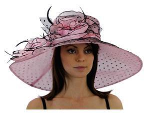 Polka Dot Wide Brim Organza Derby Hat with Jewel Accents, Pink