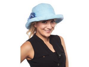 Cozumel Brim Cotton Sun Hat with Flower, Medium Blue with Flower
