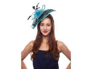 Across Board Sinamay Fascinator Hat with Polka Dots, Ocean