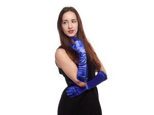 Jazz Hands Satin Elbow Length Gloves with Sequins Cuff (Royal Blue)