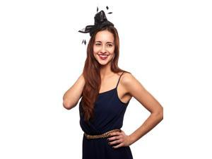 Dazzling Darling Sinamay Fascinator Hat with Jewel Accent, Black