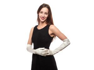 Luxury Suite Stretch Silk Over Elbow Length Gloves (Ivory, Size A)