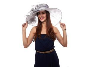 Polka Dot Wide Brim Organza Derby Hat with Jewel Accents, White