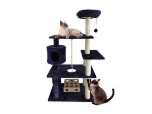 Furhaven Tiger Tough Cat Tree Tower Scratcher Deluxe Playground with Cat IQ and Rope - Blue