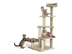 Furhaven Tiger Tough Cat Tree Tower Scratcher Play Stairs with Cat IQ  Busy Box  Cream