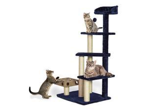 Furhaven Tiger Tough Cat Tree Tower Scratcher Play Stairs with Cat IQ  Busy Box - Blue