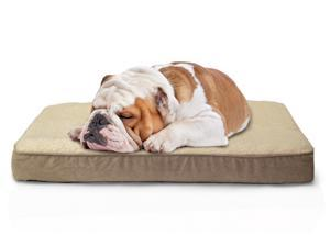 Faux Sheepskin/Suede Deluxe Orthopedic Pet Bed (Medium) - Clay