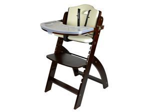 Abiie Beyond Wooden High Chair with Tray. The perfect highchair solution for your child as toddler's or dining chair ( 6 months & up) (Mahogany - Cream Cushion)