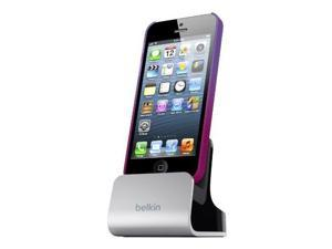 Belkin Charger and Sync Dock with Audio Port for iPhone 6 / 6 Plus, iPhone SE, iPhone 5 / 5S / 5c and iPod touch 5th Generation (Silver)