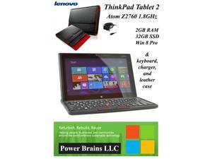 "Lenovo ThinkPad Tablet 2 10.1"" Atom Z2760 1.8GHz 2 GB Ram 32GB SSD Keyboard Leather sleeve Win 8.1 Pro & charger"