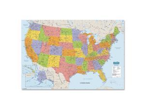 "Laminated United States Map 38""x25"" Multi-Color"