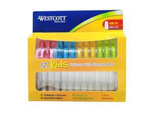 "Westcott Kids Blunt Scissors with Storage Rack 5"" Set of 12 Assorted Colors"