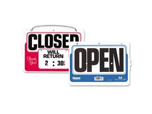 Double-Sided Open/Closed Sign w/Dial-A-Time Will Return Clock Plastic 11 x 8