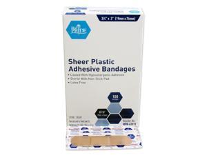 "MedPride 63011 Sheer Plastic Adhesive Bandages Sterile 3/4"" x 3"" 100/Box"