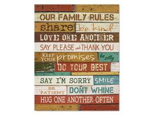"Motivational Poster 16 x 20 ""Our Family Rules"" Dark Walnut"