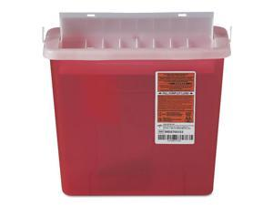 Sharps Container for Patient Room Plastic 5qt Rectangular Red
