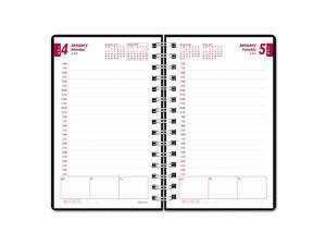 DuraFlex Daily Planner, 5 x 8, Black, 2017 CB634V-BLK