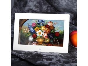 "10"" Inch HD LCD Digital Photo Frame Alarm Clock Media Player + Remote White US"