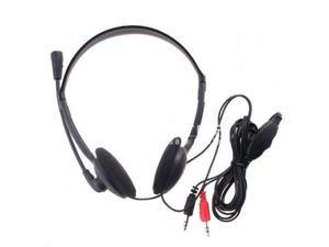 XTY-21 3.5mm PC Microphone Headphone Headset MSN Skype Talk - black