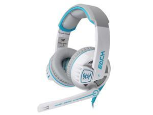 EACH G6000 Stereo Gaming Game PC Headphone Headset Headband Mic LED White & Blue