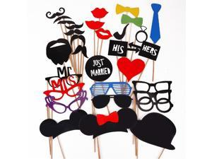 Foxnovo 31-in-1 DIY Glasses Moustache Red Lips Bow Ties On Sticks Wedding Birthday Party Photo Booth Props